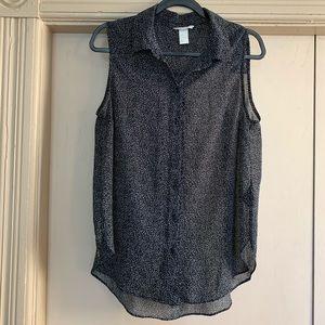 H&M Black / White Dot Sleeveless Button Down Top
